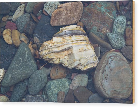 Glacier Park Creek Stones Submerged Wood Print