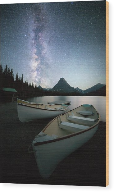 Glacier's Midnight Dream / Two Medicine Lake, Glacier National Park  Wood Print