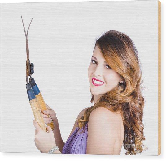 Glamorous Woman Gardening Wood Print