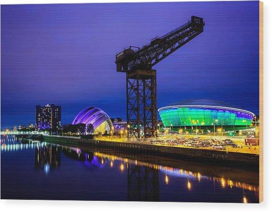Glasgow At Night Wood Print