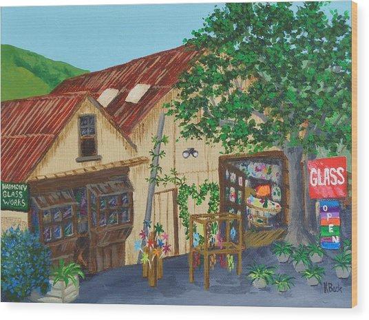 Glass Blower Shop Harmony California Wood Print