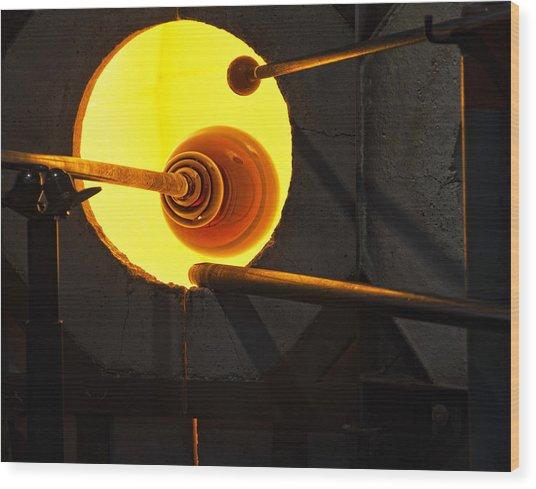 Glass Blowing Wood Print