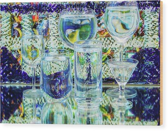 Glass Blues Wood Print