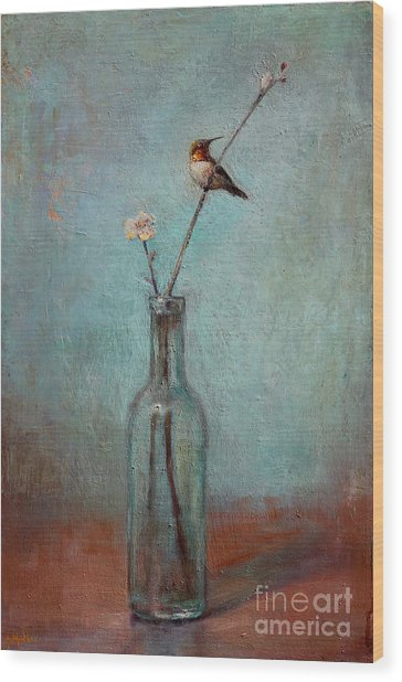 Glass Bottle And Hummingbird Wood Print
