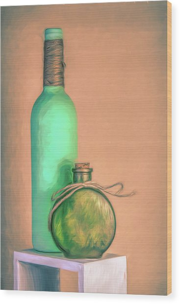 Glass Bottle Composition Wood Print