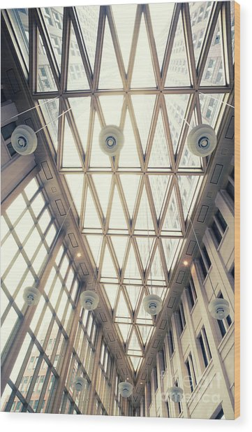 glass ceiling in hall of  new State office  Wood Print