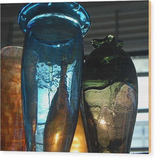 Glass Colors Wood Print by Jean Booth