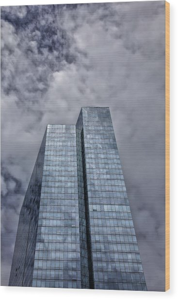 Glass High Rise And Clouds Wood Print by Robert Ullmann