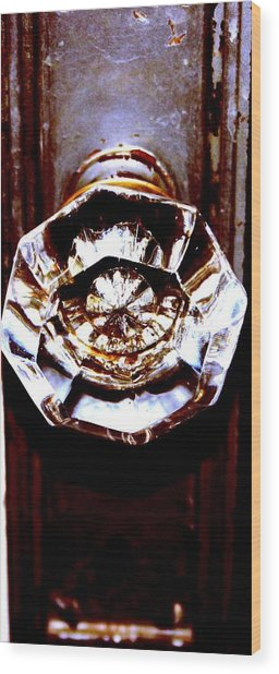 Glass Knob Wood Print by Brenda Myers