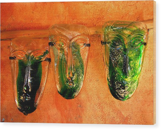 Glass Masks Wood Print