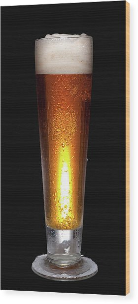 Glass Of Cold Beer Wood Print