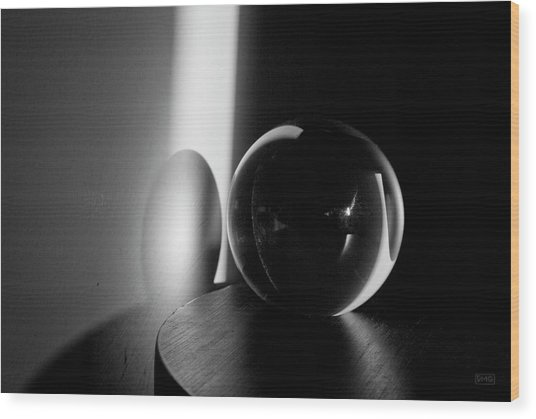 Glass Sphere In Light And Shadow Wood Print