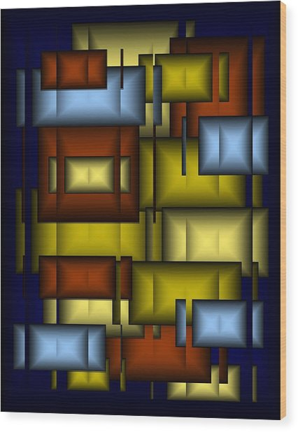 Glass Tile Abstract Wood Print by Terry Mulligan