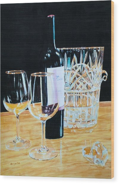 Glass Wood And Light And Wine Wood Print by Mary Lou Hall