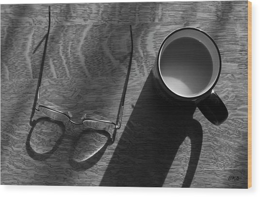 Glasses And Coffee Mug Wood Print