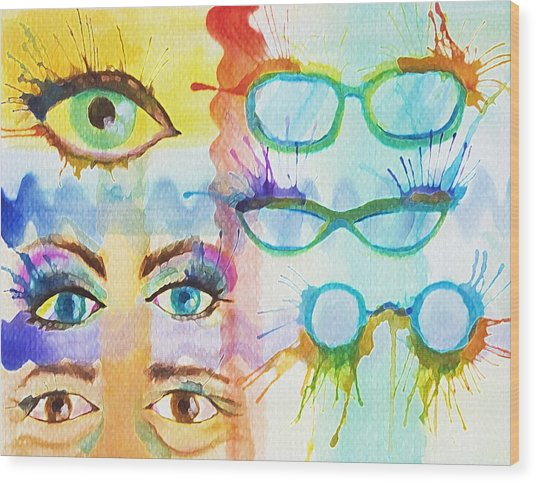 Glasses And Lashes Wood Print