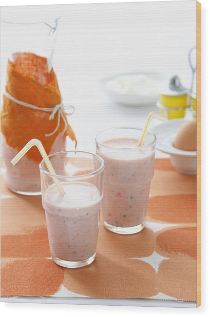 Glasses Of Strawberry Smoothie Wood Print