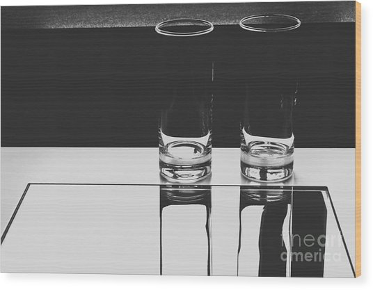 Glasses On A Table Bw Wood Print