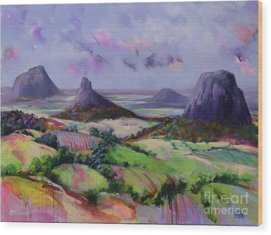 Glasshouse Mountains Dreaming Wood Print