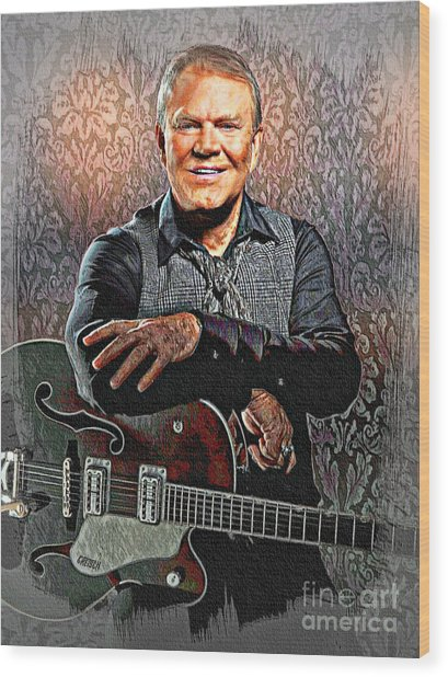 Glen Campbell - Singing Icon Wood Print