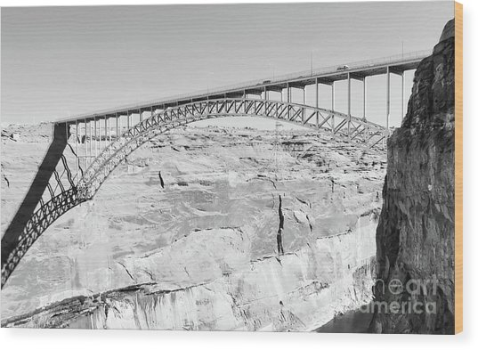Glen Canyon Bridge Bw Wood Print