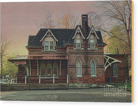 Glen Mill Train Station Wood Print