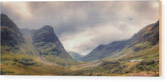 Glencoe Panorama Wood Print