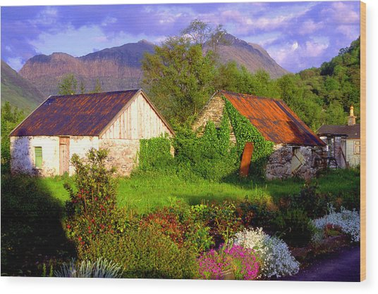 Glencoe Village Wood Print by John McKinlay