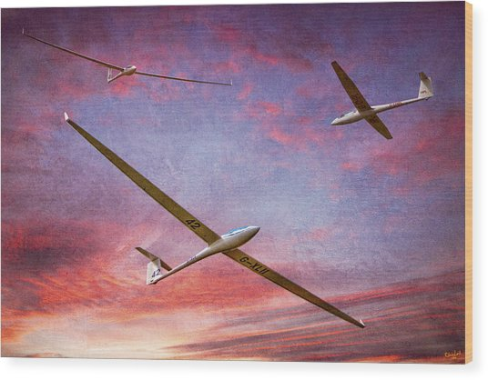 Gliders Over The Devil's Dyke At Sunset Wood Print