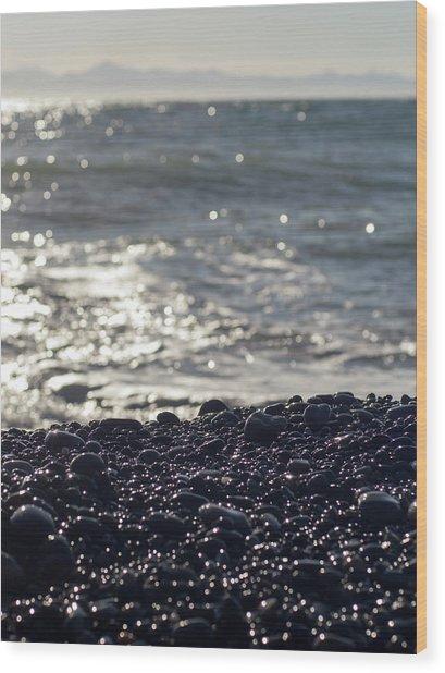 Glistening Rocks And The Ocean Wood Print