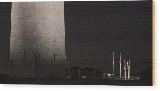 Glmpse Of The Washington Monument Wood Print