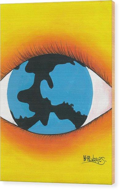 Global Sight Wood Print by Herold Alvares