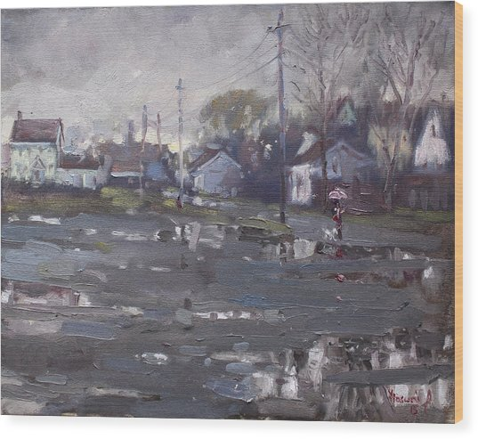 Gloomy And Rainy Day By Hyde Park Wood Print