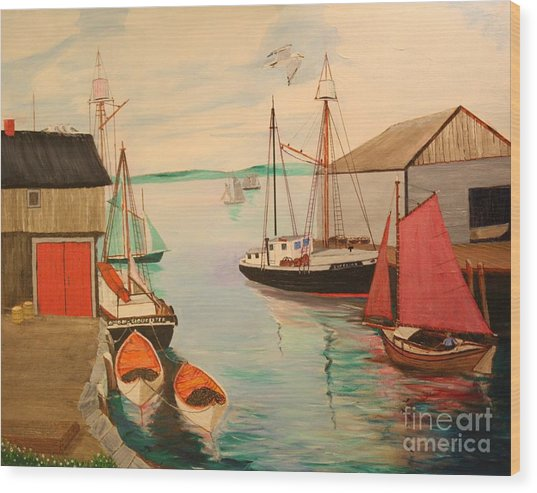 Gloucester Harbor - Mackerel Seiners 1933 Wood Print