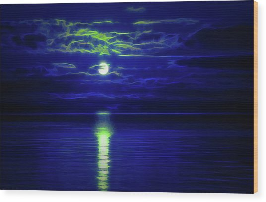 Glow In The Dark Amazing Sunset  Wood Print
