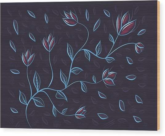 Glowing Blue Abstract Flowers Wood Print