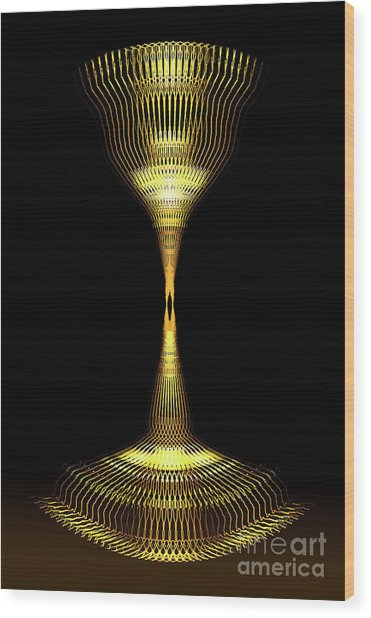 Glowing Brass Lamp Stand Wood Print