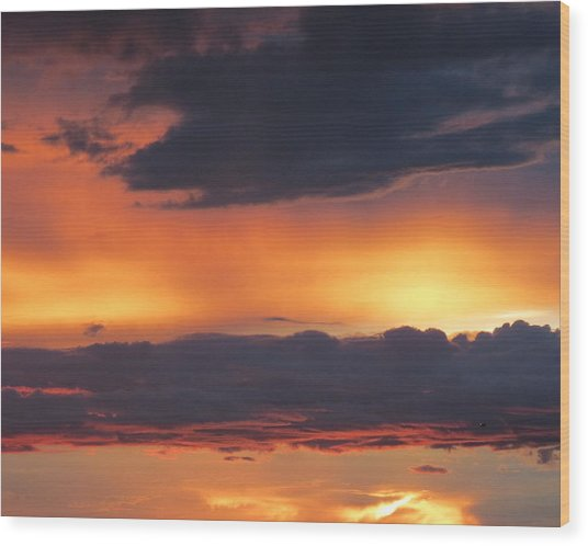 Glowing Clouds Wood Print