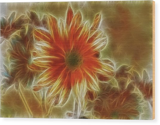 Glowing Flower Wood Print