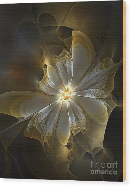 Glowing In Silver And Gold Wood Print