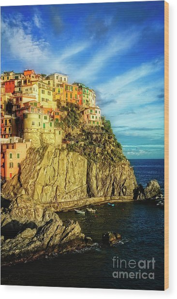 Glowing Manarola Wood Print