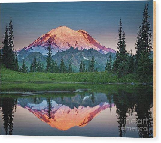 Glowing Peak - August Wood Print