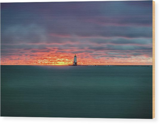 Glowing Sunset On Lake With Lighthouse Wood Print