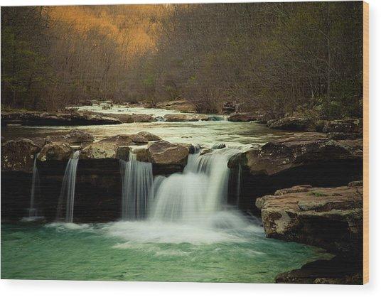 Glowing Waterfalls Wood Print by Iris Greenwell