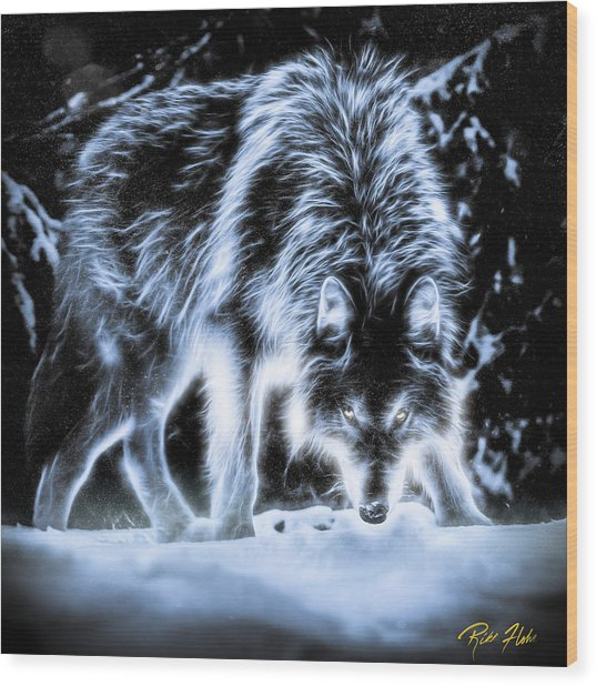 Glowing Wolf In The Gloom Wood Print