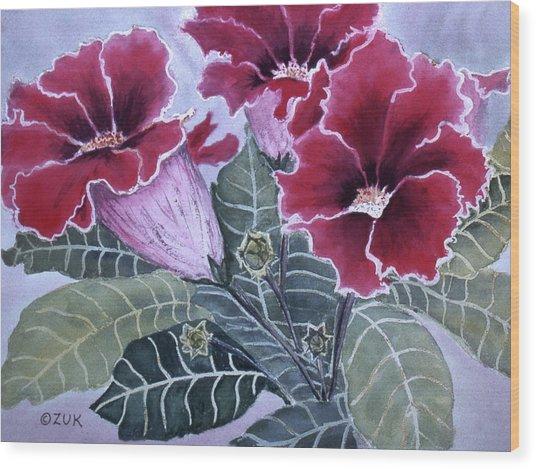 Wood Print featuring the painting Gloxinias by Karen Zuk Rosenblatt