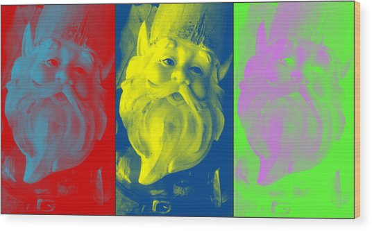 Gnomes In Crazy Color Wood Print by Jennifer Coleman