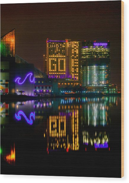 Go Ravens Baltimore Inner Harbor Wood Print