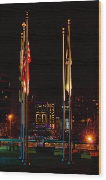 Go Ravens With Flags Wood Print