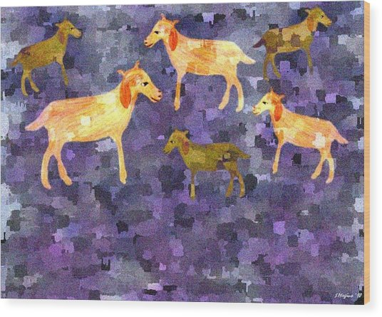 Goats In The Field Wood Print by Sher Magins